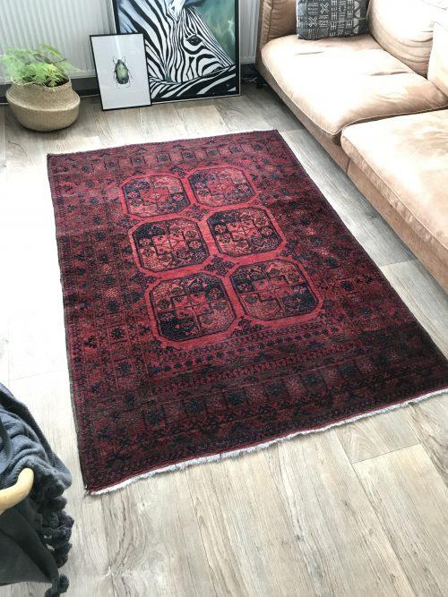 Handgeknoopt perzisch tapijt rood