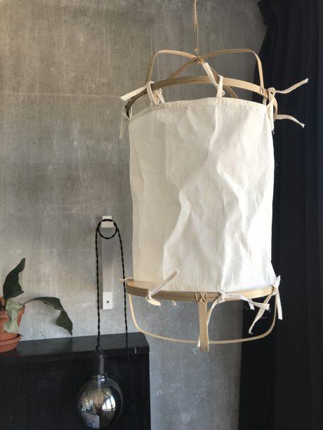 Bamboe lamp lampion wit