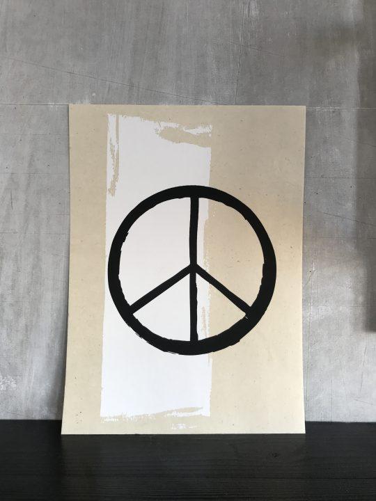 peace teken op poster