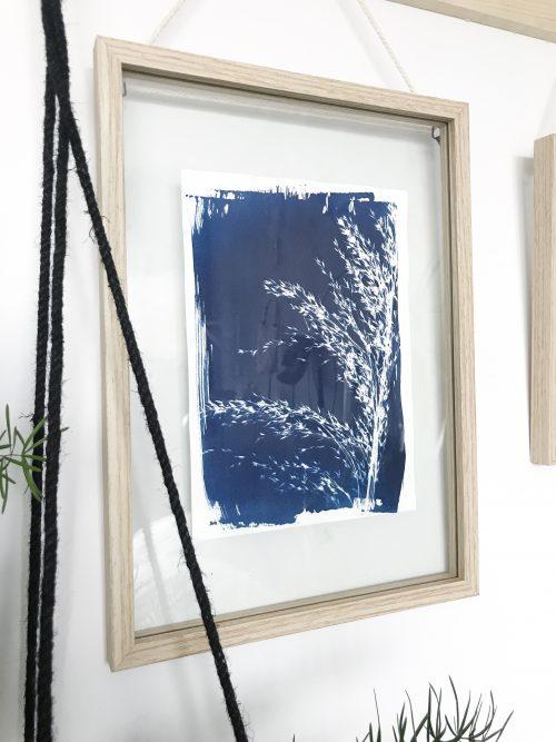 poster donkerblauw riet