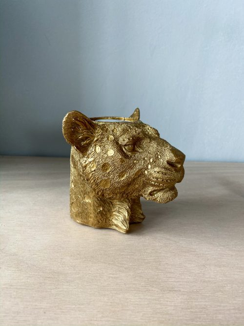 panter waxinelichthouder goud
