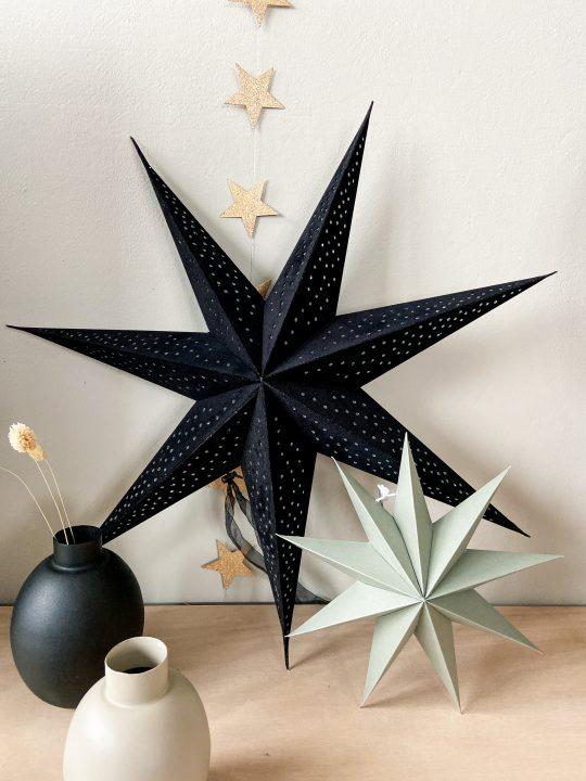 zwarte velvet kerstster