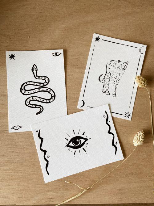 kaartenset tijger slang oog