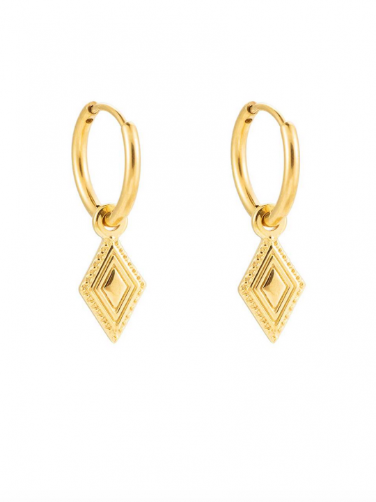 oorbellen goudkleurig met driehoeken