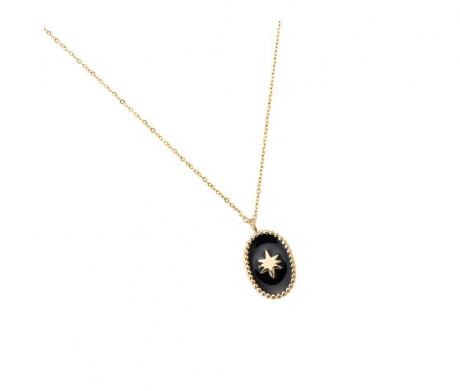ketting goud met ster in zwart