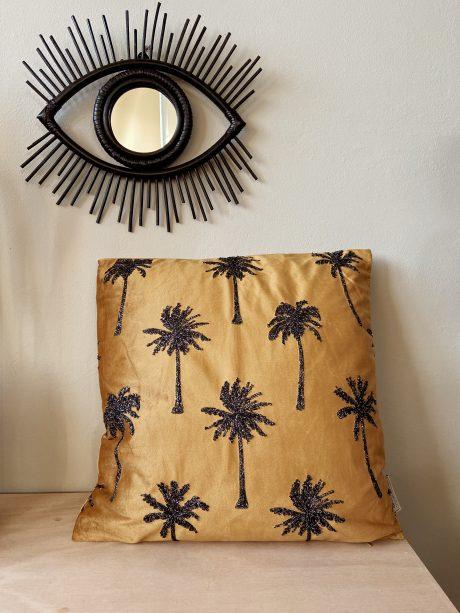 velvet kussen oker goud met palmbomen