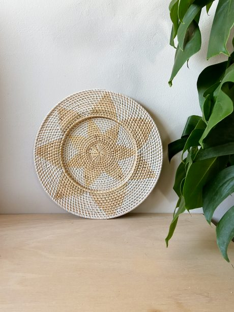 rotan muurdecoratie naturel wit