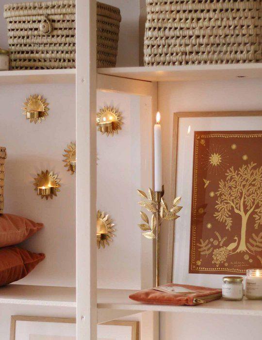 kandelaar goud met bladeren boho