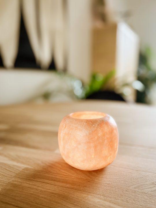waxinelichthouder steen roze